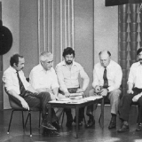 Писатели Николаева на телестудии: В.Пучков, Э.Январёв, В.Качурин, М.Божаткин, Д.Креминь.1978 г.